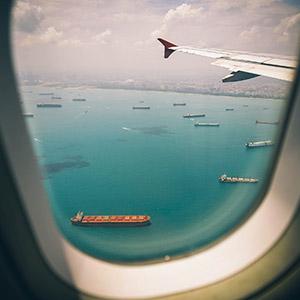 uitzicht vliegreis